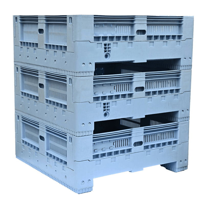 AU Standard Sized Collapsible Crate stacked 3 high